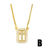 Square Shape Hollow-out Rhinestone Rimmed Design Cross Pendant Wholesale Jewelry Luxurious Copper Necklace