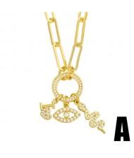 U.S. Hip-hop Wholesale Jewelry Rectangular Chain Eye and Snake Combo Pendants Design Women Copper Necklace
