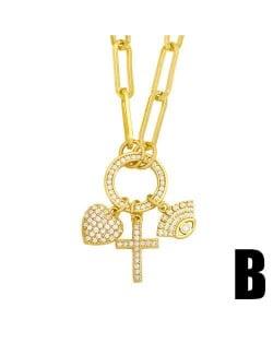 U.S. Hip-hop Cross and Heart Multiple Elements Combo Design Women Golden Wholesale Necklace