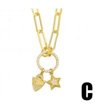 U.S. Hip-hop Wholesale Jewelry Lock and Star Combo Round Pendant Design Women Copper Necklace
