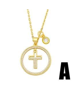 Hip-hop Wholesale Jewelry Multiple Elements Combo Hollow-out Round Pendant Fashion Women Copper Necklace - Cross