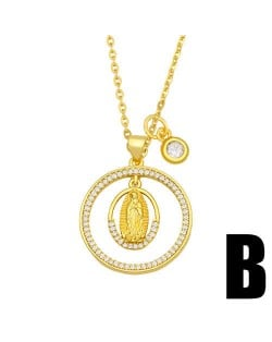 Hip-hop Wholesale Jewelry Multiple Elements Combo Hollow-out Round Pendant Fashion Women Copper Necklace - Goddess