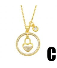 Hip-hop Wholesale Jewelry Multiple Elements Combo Hollow-out Round Pendant Fashion Women Copper Necklace - Lock