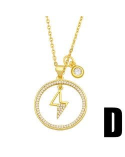 Hip-hop Wholesale Jewelry Multiple Elements Combo Hollow-out Round Pendant Fashion Women Copper Necklace - Lightning