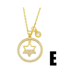 Hip-hop Wholesale Jewelry Multiple Elements Combo Hollow-out Round Pendant Fashion Women Copper Necklace - Star