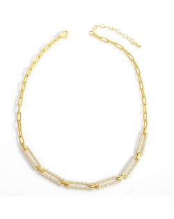 Hip-hop Style Street Popular Rectangular Hollow-out Chain Fashion Wholesale Women Copper Necklace