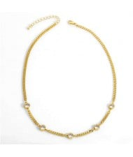 Hip-hop Style Wholesale Jewelry Street Fashion Rhinestone Inlaid Snake Chain Classic Design Women Copper Necklace