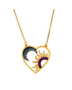 Heart shape Moon and Sun Pendant Classic Design Women High Fashion Copper Wholesale Necklace