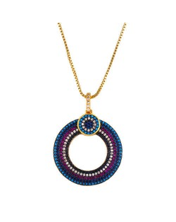 Bohemian Wholesale Jewelry Hollow-out Round Rhinestone Rimmed Unique Design Women Fashion Copper Necklace