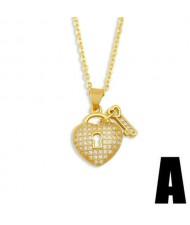 Creative Heart Shape Lock and Key Classic Combo Pendant Women Copper Wholesale Necklace - Design A