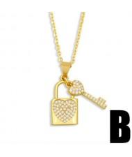 Creative Heart Shape Lock and Key Classic Combo Pendant Women Copper Wholesale Necklace - Design B