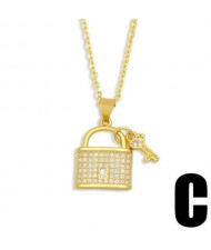 Creative Heart Shape Lock and Key Classic Combo Pendant Women Copper Wholesale Necklace - Design C