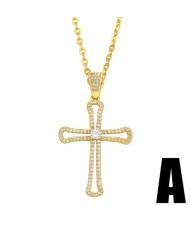 U.S. Hip-hop Classic Cross Pendant Cubic Zirconia Inlaid Fashion Women Copper Wholesale Necklace - Design A