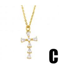 U.S. Hip-hop Classic Cross Pendant Cubic Zirconia Inlaid Fashion Women Copper Wholesale Necklace - Design C