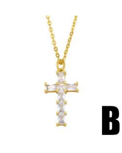 U.S. Hip-hop Classic Cross Pendant Cubic Zirconia Inlaid Fashion Women Copper Wholesale Necklace - Design D