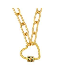 Heart Shape Pendant Bold Link Chain Hip-hop Style Wholesale Jewelry Women Copper Necklace - Multicolor