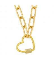 Heart Shape Pendant Bold Link Chain Hip-hop Style Wholesale Jewelry Women Copper Necklace - White