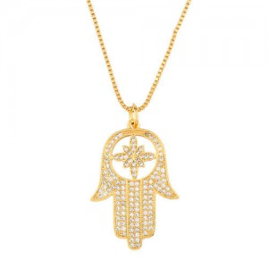 Creative Rhinestone Palm Pendant High Fashion Women Costume Copper Wholesale Necklace
