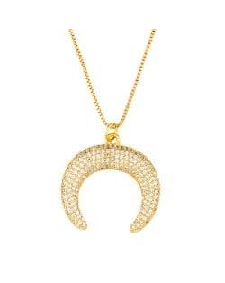 Rhinestone Embellished Moon Shape Pendant Golden Wholesale Jewelry Fashion Women Copper Necklace