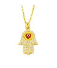 Attractive Heart Shape Eye Palm Design Pendant U.S. Fashion Wholesale Jewelry Copper Necklace - Red