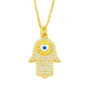 Attractive Heart Shape Eye Palm Design Pendant U.S. Fashion Wholesale Jewelry Copper Necklace - Blue