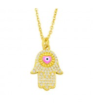 Attractive Heart Shape Eye Palm Design Pendant U.S. Fashion Wholesale Jewelry Copper Necklace - Pink