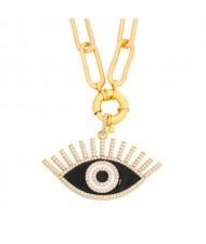 Cubic Zirconia Embellished Evil Eye Hip-hop Style Wholesale Jewelry Women Copper Necklace - Black