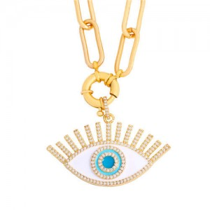 Cubic Zirconia Embellished Evil Eye Hip-hop Style Wholesale Jewelry Women Copper Necklace - White
