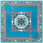 Abstract Floral Prints French Fashion Women Square Scarf - Blue