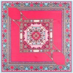 Abstract Floral Prints French Fashion Women Square Scarf - Rose