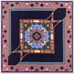 Abstract Floral Prints French Fashion Women Square Scarf - Royal Blue