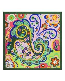 Bohemian Fashion Colorful Flowers Doodle 60*60 cm High Fashion Women Square Scarf - Green