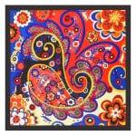 Bohemian Fashion Colorful Flowers Doodle 60*60 cm High Fashion Women Square Scarf - Black