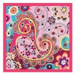 Bohemian Fashion Colorful Flowers Doodle 60*60 cm High Fashion Women Square Scarf - Rose