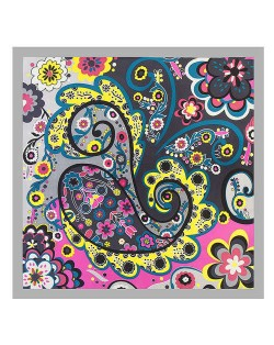 Bohemian Folk Prosperous Flowers Doodle 60*60 cm High Fashion Women Square Scarf - Gray