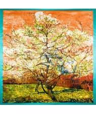 Folk Fence Prosperous Tree Oil Painting Romantic Design Women Square Scarf - Blue