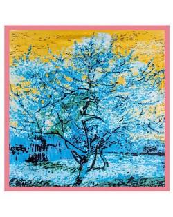 Folk Fence Prosperous Tree Oil Painting Romantic Design Women Square Scarf - Pink