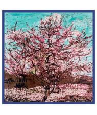 Folk Fence Prosperous Tree Oil Painting Romantic Design Women Square Scarf - Royal Blue