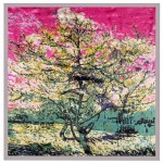 Folk Fence Prosperous Tree Oil Painting Romantic Design Women Square Scarf - Gray