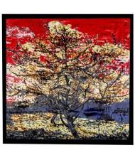 Folk Fence Prosperous Tree Oil Painting Romantic Design Women Square Scarf - Black