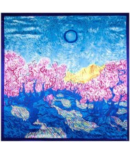Summer Forest Oil Painting Attractive Design Artificial Silk 90*90 cm Women Square Scarf - Blue