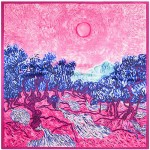 Summer Forest Oil Painting Attractive Design Artificial Silk 90*90 cm Women Square Scarf - Rose