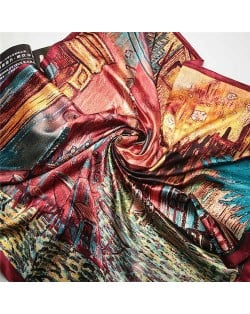 French Coffee Shop Oil Painting Theme 90*90 cm Artificial Silk Women Square Scarf - Red