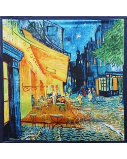 French Coffee Shop Oil Painting Theme 90*90 cm Artificial Silk Women Square Scarf - Blue