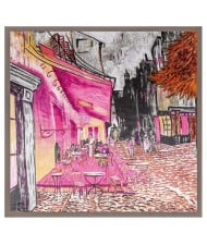 French Coffee Shop Oil Painting Theme 90*90 cm Artificial Silk Women Square Scarf - Gray