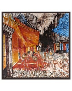 French Coffee Shop Oil Painting Theme 90*90 cm Artificial Silk Women Square Scarf - Brown