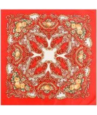 Folk Style Prosperous Roses Prints Design High Fashion Women Square Scarf - Red