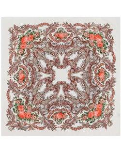 Folk Style Prosperous Roses Prints Design High Fashion Women Square Scarf - White