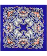 Folk Style Prosperous Roses Prints Design High Fashion Women Square Scarf - Royal Blue