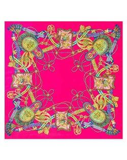 Royal Tassel Unique Design High Fashion Artificial Silk Square Women Scarf - Rose